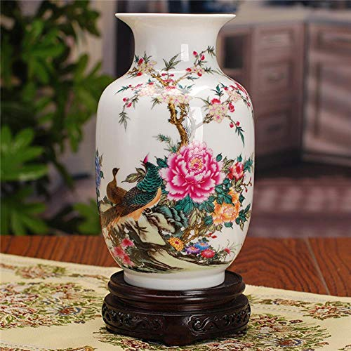 LGYLucky Antike chinesische-Porzellan-Vase Klassische Wohnkultur Handgemachte weiße und Blaue Keramik Blumenvasen,8