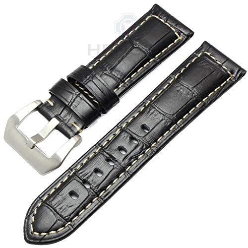 HNGM Correa Reloj Cuero 22 mm 24 mm Strap de la Vendimia Hecha a Mano de los Hombres de la Correa Suave de los Hombres con la Hebilla de Plata (Band Color : Grey)