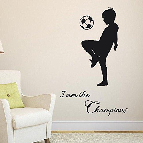 """Wall Stickers Calcio Frasi """"I Am The Champions"""" Bambini Diy Cameretta Salotto Camera Cucina Adesivi Murali Rimovibile Impermeabile Arte Carta Da Pareti Decorazione Murales,Mambain"""