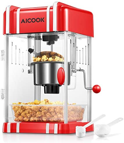 Popcorn Machine Hot Oil Retro Style Popcorn Popper with Non stick Kettle Retro Light Pourable product image