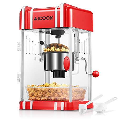 Popcorn Machine, AICOOK Hot Butter Popcorn Maker with Non-stick Kettle, Retro Light, Pourable Handle, Includes Measuring Cup Oil and Corn kernels, Popcorn Tray, Suitable for Movie Nights and Christmas, 2.5 oz