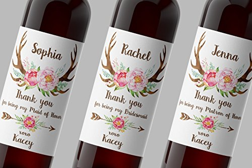 THANK YOU for being My BRIDESMAID, Antlers, MAID OF HONOR, MATRON of HONOR Wine Bottle Label, CUSTOM Thank You Gifts, Wedding Party Wine Labels, Wedding Favors, Weatherproof, Waterproof, A120-TTY