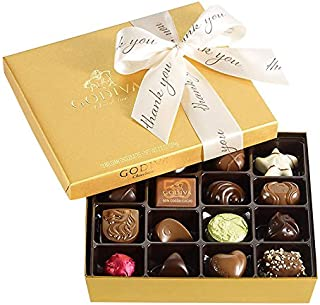 Godiva Chocolatier Assorted Chocolate Gold Gift Box, Thank You Ribbon, Wedding Favor, Thank You Gift, Premium Chocolates, 19 pc