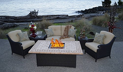 Where To Purchase Fire Pit Set Ppc 009 Outdoor Wicker Patio Furniture With Gas Fire Pit Dining Set Beige Alvin Mallari Ae