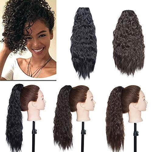 Haarteil Dutt Haar Extensions Ponytail Corn Wavy Haargummi Haarknoten Haarband Hochsteckfrisuren Zopf Schwarz