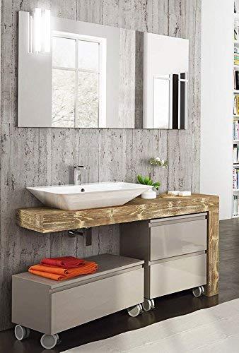 Dafne Italian Design Meuble de salle de bain Top en bois, lavabo à vue et portes et tiroirs gris avec roues avec miroir avec lumières LED comme sur la photo - 100 % fabriqué en Italie