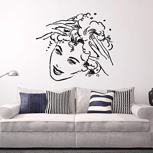 Geiqianjiumai shampoo teken haar meisjes kunst vinyl muur sticker poster scheidbaar schoonheidssalon decoratie haarapplicatie