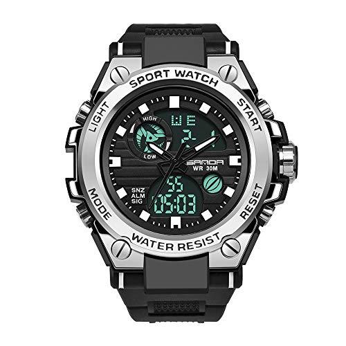 LUCHAO MERSO Hombres SPORTWATCH Hombres Digital DE Hombres G Relojes de Choque para Hombres Shok Military Reloj de Pulsera electrónica Impermeable (Color : Plata)