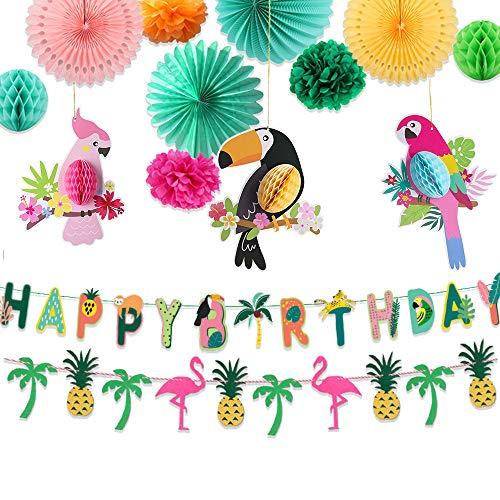 JeVenis 14 piezas de pájaros tropicales para colgar decoración de loro panal de abeja decoración de fiesta loro suministros de fiesta hawaiana decoración de fiesta tropical suministros