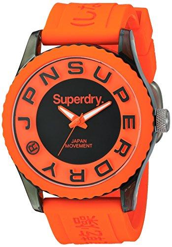 Superdry SYG145O Tokyo Uhr Herrenuhr Kautschuk Kunststoff 50m Analog orange