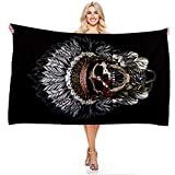 Treer Microfiber Beach Towel Large Oversized, Indian Skull 3D Printing Lightweight Soft...