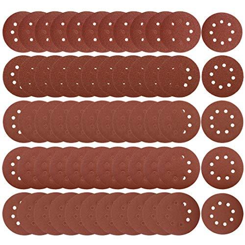 TUZAZO 60Pcs Sanding Discs 5 Inch 8 Hook and Loop Sanding Discs Sandpaper, 40 60 80 100 120 Grits Sand Paper for Random Orbital Sander