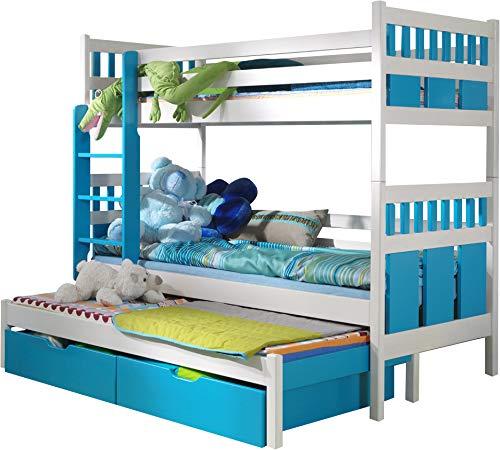 FurnitureByJDM - Triple stapelbed met matrassen en opberglades - MAX - Massief, natuurlijk grenen hout - (Wit / Turkoois)