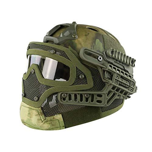 LHY HELMET Airsoft Helm,Taktischer Helm PJ-Typ Fast Molle mit Maske und Schutzbrille Airsoft Paintball CS Outdoor G4 System,A
