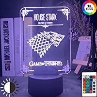 ゲームオブスローンズハウスオブスタークロゴナイトライトLEDタッチセンサーカラーチェンジナイトライトのためにオフィスルームインテリアテーブル3Dランプ