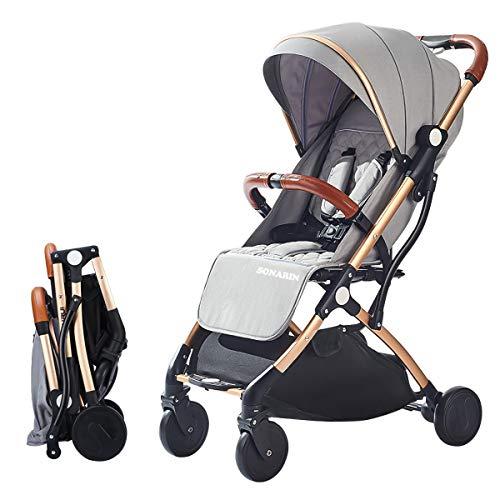 SONARIN Leicht Kinderwagen,Kompakt Reise Buggy,einhändig faltbar,Fünf Punkt Gurt,ideal für Flugzeug(Grau)