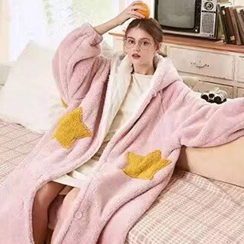 HUANSUN 2020 Pijama de Invierno camisón de Manga Larga Otoño e Invierno Mujer Hombre Su Algodón Franela Ocio Tops, Estrella Rosada