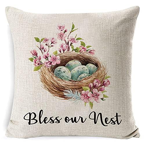 ZNZT FundaDeAlmohada Feliz Pascua Funda De Almohada Lindo Conejo Color Huevos Flor Almohada Decoración del Hogar Funda De Almohada para Sofá Dormitorio Oficina