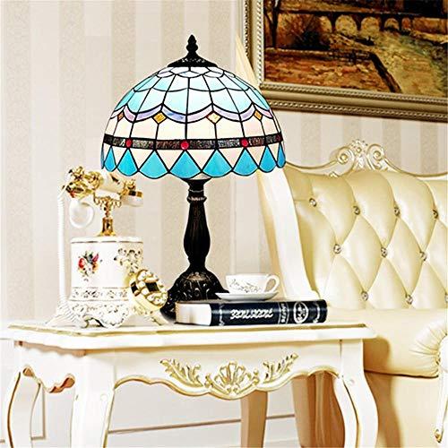 Cohleb Kleurrijke glazen tafellamp de wijnoogst met de metalen ronde voet geschikt voor woonkamerinrichting