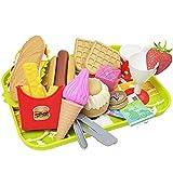 BESTZY Kinder Küchenspielzeug, Spielzeug für Rollenspiel, Küchenspielzeug und Essen Spielen Set für Kinder, Hamburger Schneiden Gemüse Spielzeug Lernspielzeug Rollenspiele für Kinder