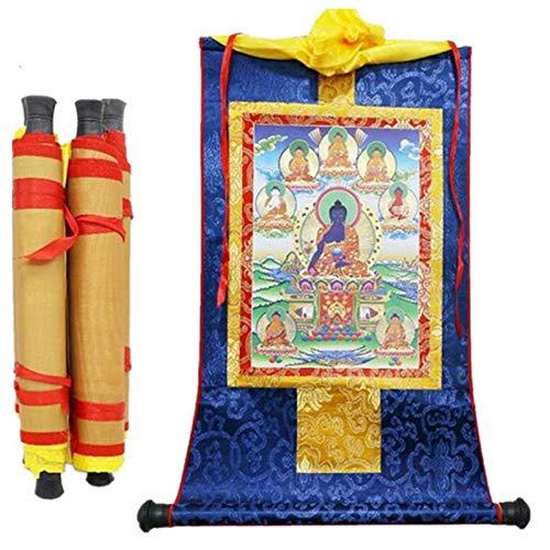 Estatua de Buda, 13'x8.3' Suministros de decoración pintura 1 unids tibetan thangka ocho medicina estatuas de buda estatuas de madera impresión de desplazamiento