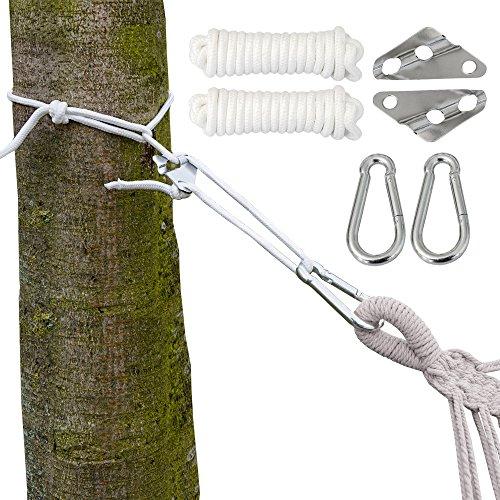 AMANKA Kit pour Accrocher Votre Hamac XXL Corde 6 mm Poids Max. supporté 190 Kg Kit Complete INCL Mousquetons et de Régulateur de Longueur