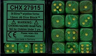 Chessex Dice d6 Sets: Vortex Slime / Yellow - 12mm Six Sided Die (36) Block of Dice