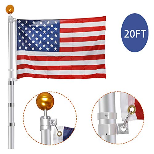 ZENY 16FT/20FT/25FT Aluminum Flagpole Telescopic Flag Pole Outdoor Residential Telescoping Inground Flagpole Kit with Golden Ball Topper and 3'x5' American Flag (20FT)