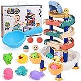 GOLDGE Badespielzeug Set Badewannenspielzeug BAU-Puzzle Autorennbahn Wasserspielzeug für Baby Kinder Badespaß