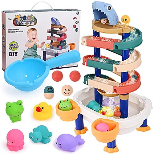 GOLDGE Juego de juguetes de baño, juguete para bañera, puzzle de carreras de coche, juguete acuático para bebés y niños, diversión en el baño
