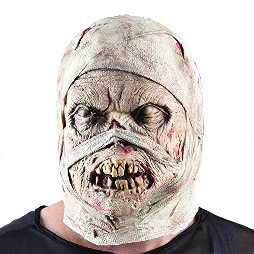 VLERHH Halloween,Zombie De Horror Cara Máscara Momia Diablo Halloween Party Show Props Miedo,Máscara De Momia Tenebrosa,Adecuado para Decoración De Casas Embrujadas