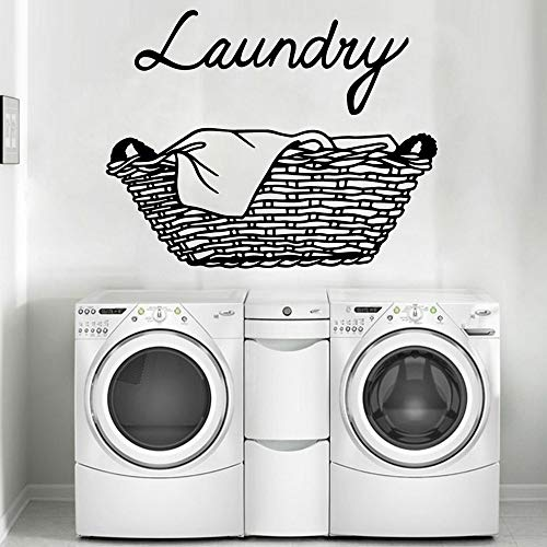 Servicio de lavandería Servicio de lavandería Letrero Lavadora Cesta de ropa Lavar en seco Doblar Hierro Ordenar Etiqueta de la pared Calcomanía de vinilo Sala de estar Tienda Hotel Estudio Decor