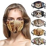 5 Stück Mundmaske 3D, Waschbar Mundschutz mit Motiv Katze, Mehrweg Atmungsaktiv Stoff Bandana Halstuch Tuch, Mund und Nasenschutz Unisex