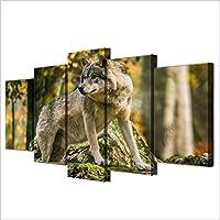 ポスター&プリントウォールアートキャンバス絵画リビングルーム家の装飾5個ウルフフォレストティンバー風景写真動物ポスターサイズ3フレームレス