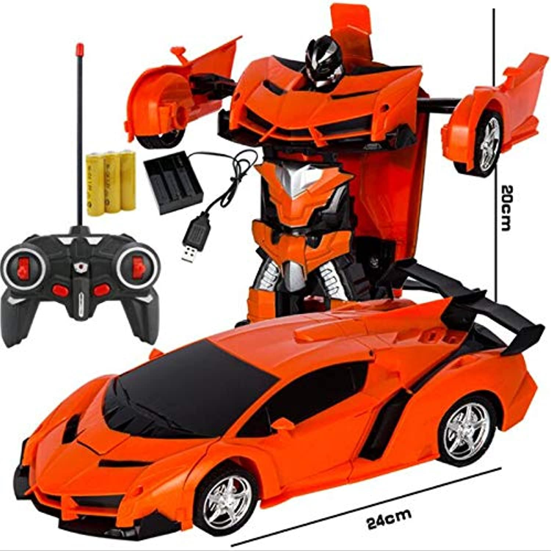 Generic RC Car Transformation Robots Sports Vehicle Model Robots Toys Cool Deformation Car Kids Toys for Boys orange