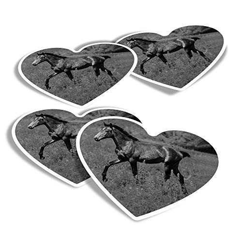 Pegatinas de vinilo con forma de corazón (juego de 4) – BW – Caballo potro Pony divertidas calcomanías para portátiles, tabletas, equipaje, reserva de chatarra #39125