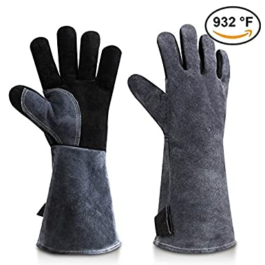 Welding BBQ Grill Gloves, 932°F Heat Resistant Leather Glove for Tig Welder/Grilling/Barbecue/Oven/Green Egg - Long Sleeve and Insulated Cotton Lining - Black-gray(16 inches)