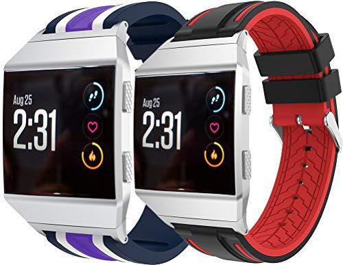 Simpleas Correa de Reloj Recambios Correa Relojes Caucho Compatible con Fitbit Ionic - Silicona Correa Reloj con Hebilla (2PCS F)