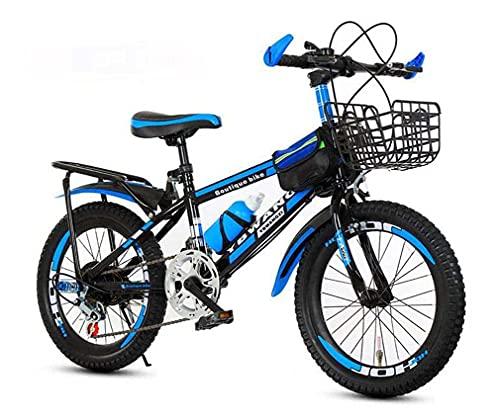 HUAQINEI Bicicleta de montaña, amortiguación y Velocidad Variable, Bicicleta de 18 Pulgadas, Bicicleta para Hombres y Mujeres, Azul, 18
