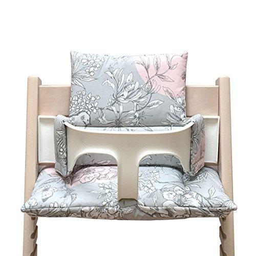 Blausberg Baby - BESCHICHTET - Sitzkissen Kissen Set Polster für Stokke Tripp Trapp Hochstuhl - Blossom Grau Rosa Vogel