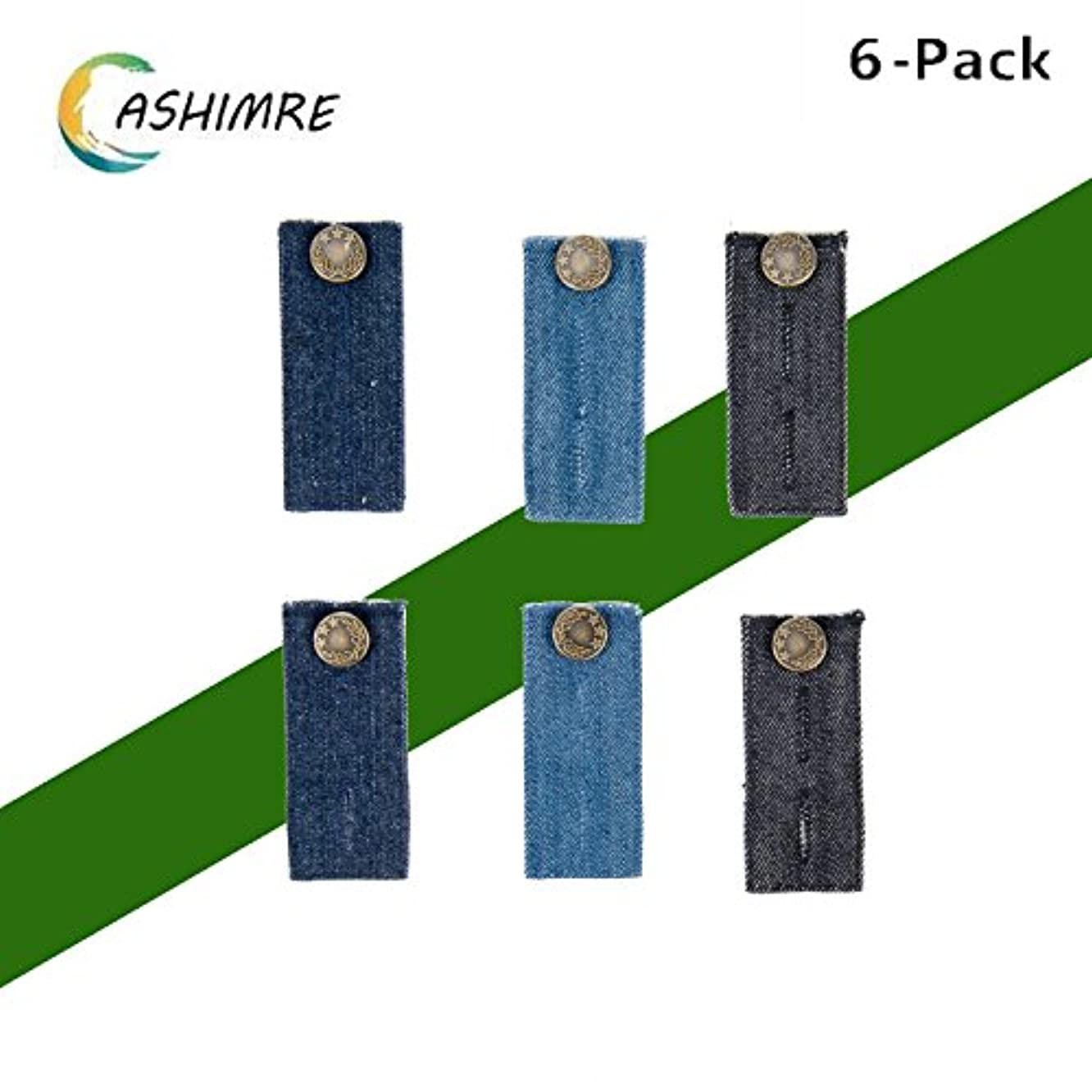 Belly Band-Denim Waist Extender with Metal Button for Jeans Men and Women Button for Jeans (6-Pack)