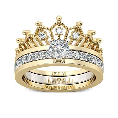 Jeulia 2 Stück Krone Damen Ringe Set Vergoldet Sterling Silber Verlobungsring Rundschliff Zirkonia Diamant Solitärring Antragsring Vorsteckring Mit Geschenkbox (52 (16.5))