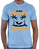 Hariz - Camiseta para hombre, diseño con texto en alemán 'Ich Muss Gar Nix Ruhestand Ruhestand Penner' azul cielo XL