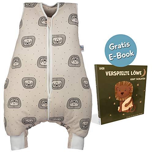 Hosenmax Babyschlafsack mit Beinen – Ganzjahres Schlafsack Baby – Verspielter Löwe Größe 90 cm – Gratis E-Book