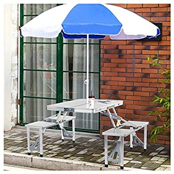 Alloy Folding Camping Table with 4 Seats Chairs,Portable Suitcase Desk Chair Set & Umbrella Hole,Foldable Outdoor Camping Dining Table,for Outdoor Seaside Barbecue,Travel,Gathering  Sliver