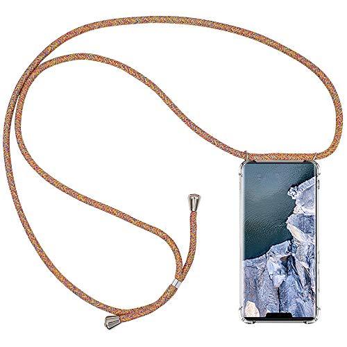 CLM-Tech Carcasa con Cuerda para Colgar Compatible con Huawei Mate 30 Pro - Funda Silicona Transparente con Cordon para Llevar en el Cuello, Arco Iris Colorido