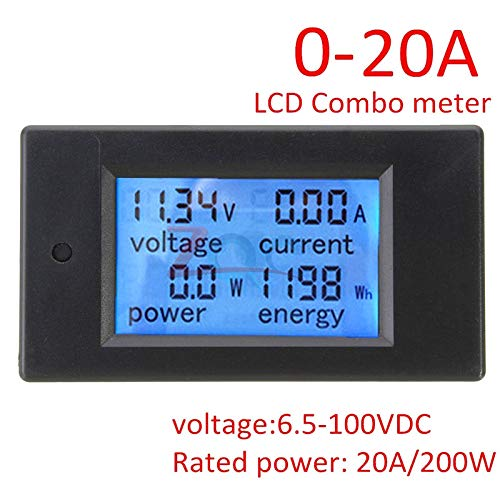 Buy DC 6.5~100V 0~20A 4 in 1 Digital Voltage Current Power Energy Meter Large LCD Screen DC Voltmete...