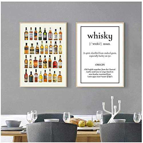 Sunglade Drucken Wandkunst Leinwand Poster, Whisky Sake Rum Brandy Gin Apfelwein Mead Weinbar Wanddekor Leinwand Gemälde 15,7
