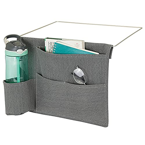 mDesign Bedside Storage Organizer Caddy Pocket - Slim Space Saving Design, 4 Pockets - Heavy Cotton Canvas - Holds Water Bottles, Books, Magazines - Charcoal Gray/Wire Insert in Satin