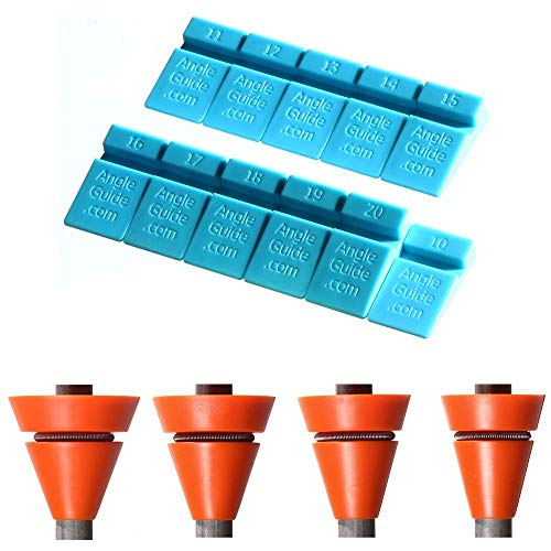 Guides de cales angulaires Wedgek, Bleu pour l'affûtage, Orange pour une maintenance quotidienne.